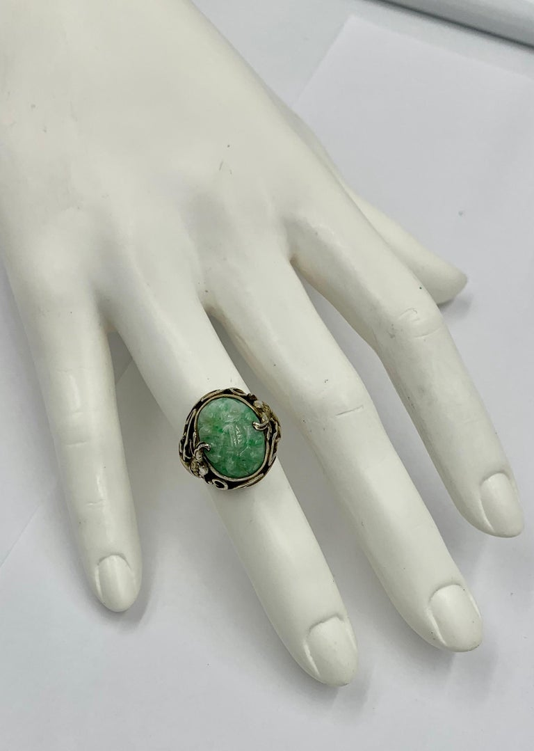 Antique Chinese Jade Dragon Ring Carved Flower Silver In Good Condition For Sale In New York, NY