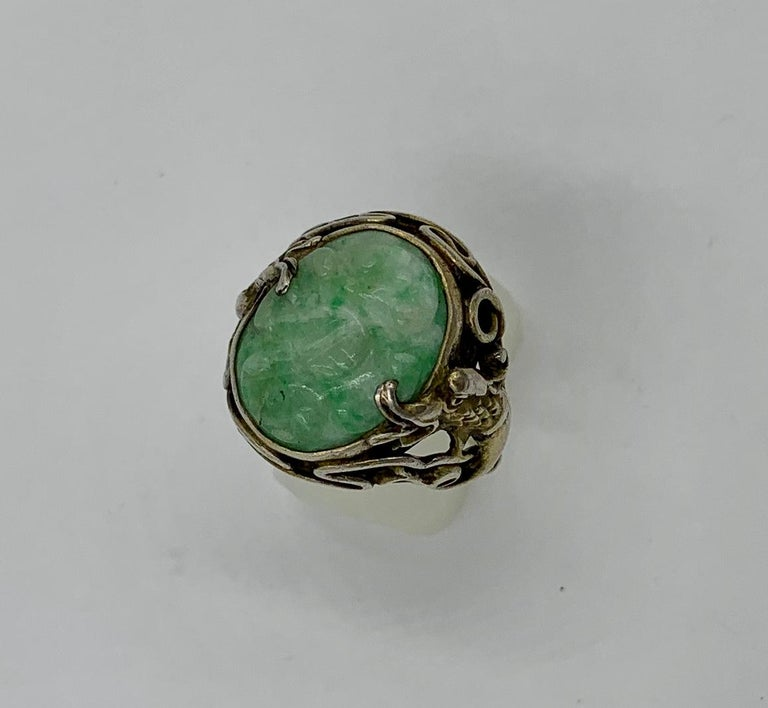 Women's or Men's Antique Chinese Jade Dragon Ring Carved Flower Silver For Sale