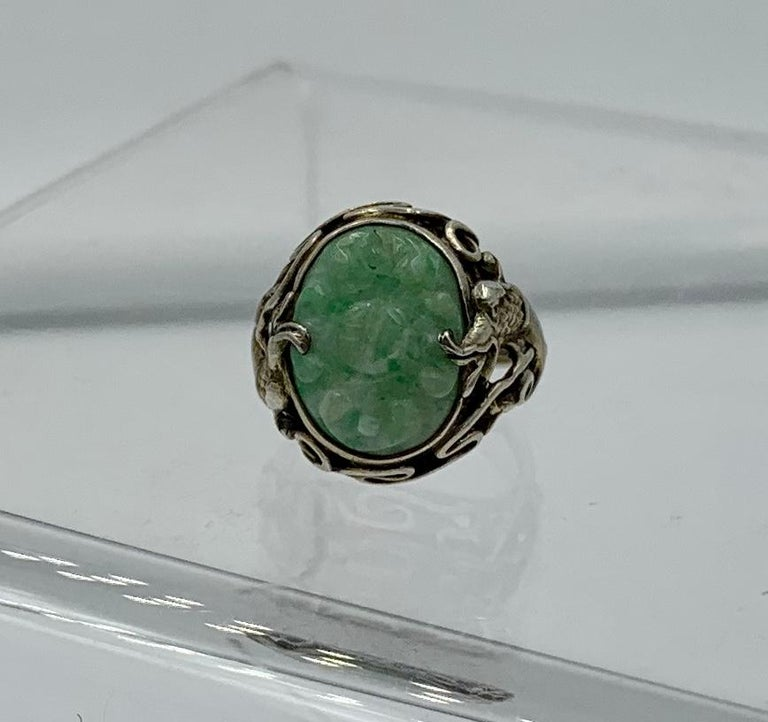 Antique Chinese Jade Dragon Ring Carved Flower Silver For Sale 1