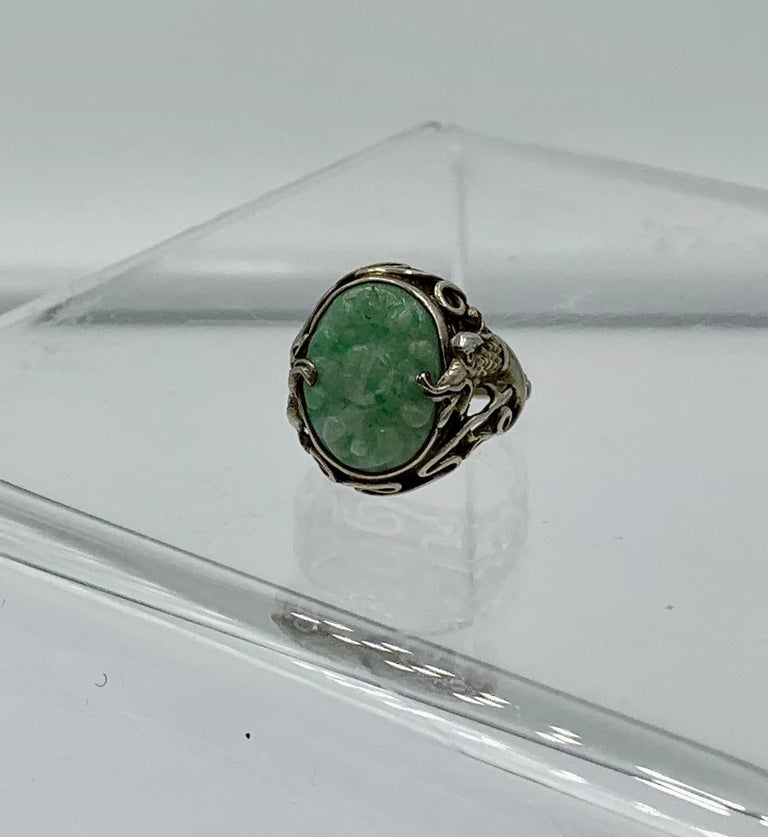 Antique Chinese Jade Dragon Ring Carved Flower Silver For Sale 3