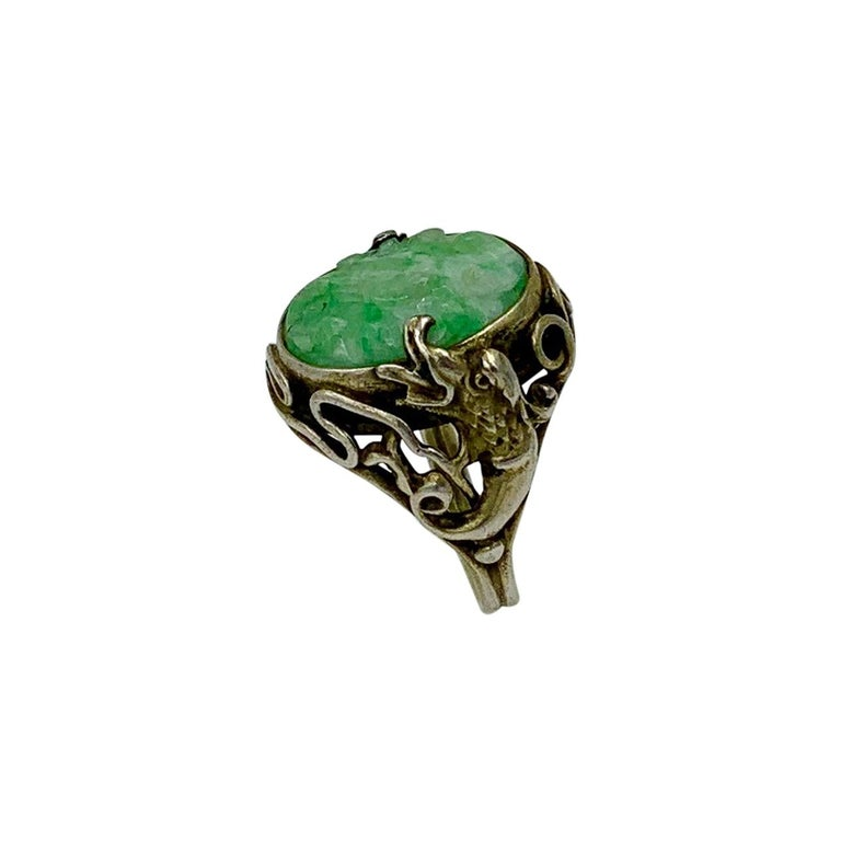 Antique Chinese Jade Dragon Ring Carved Flower Silver For Sale