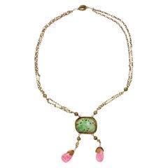 Antique Chinese Jade & Tourmaline Gilt Necklace Art Nouveau