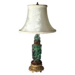 """Antique Chinese """"Jadeite"""" Quartz Vessel Lamp"""