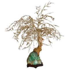 Antique Japanese Chinese Glass Bonsai Tree Jade Green Quartz Gemstone Sculpture