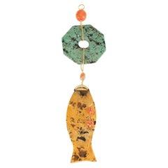 Antique Chinese Jasper Coral Turquoise 18 Karat Gold Pendant