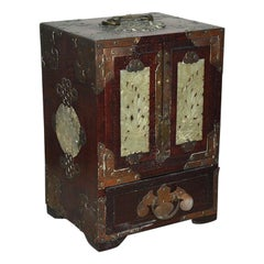 Antique Chinese Jewelry Box with Jade Inset