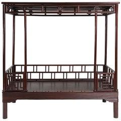 Antique Chinese Ju Mu Six Post Canopy Bed, Chinoserie, Suzhou