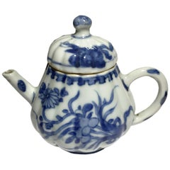 Antique Chinese Kangxi Blue and White Porcelain Pumpkin Shaped Teapot