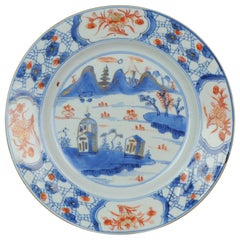 Antique Chinese Kangxi Imari Plate with European Landscape, China, 18th Century