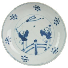Antique Chinese Kssometsuke 17th Century Porcelain Ming Transitional Boys Flying