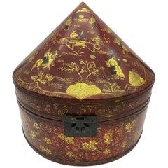 Antique Chinese Lacquer Leather Hat Box