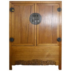 Antique Chinese Lacquered Cabinet with Doors, Drawers and Brass Hardware