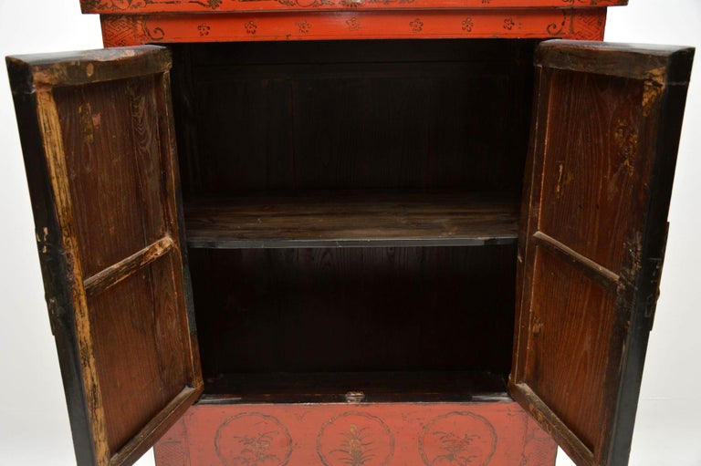 Antique Chinese Lacquered Wedding Cabinet For Sale 4