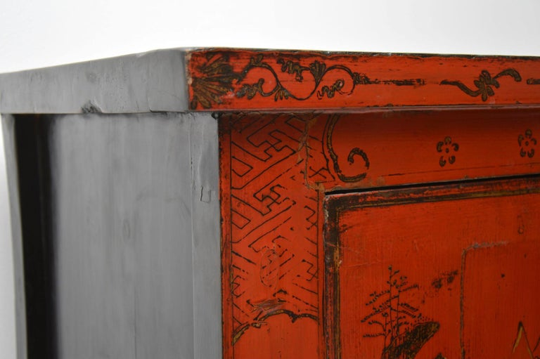 Antique Chinese Lacquered Wedding Cabinet For Sale 5