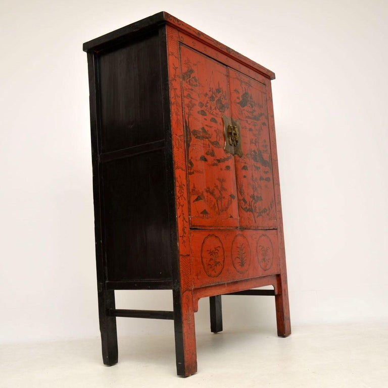 Antique Chinese Lacquered Wedding Cabinet For Sale 6