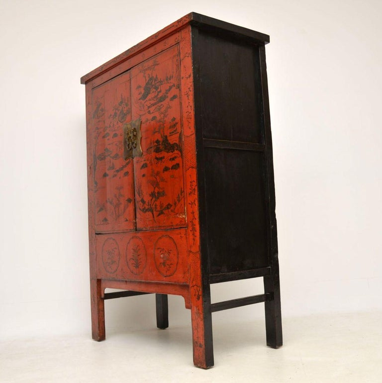 Antique Chinese Lacquered Wedding Cabinet For Sale 7