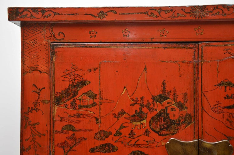Victorian Antique Chinese Lacquered Wedding Cabinet For Sale
