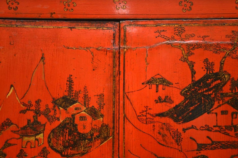 Mid-19th Century Antique Chinese Lacquered Wedding Cabinet For Sale