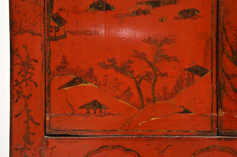 Antique Chinese Lacquered Wedding Cabinet For Sale 1