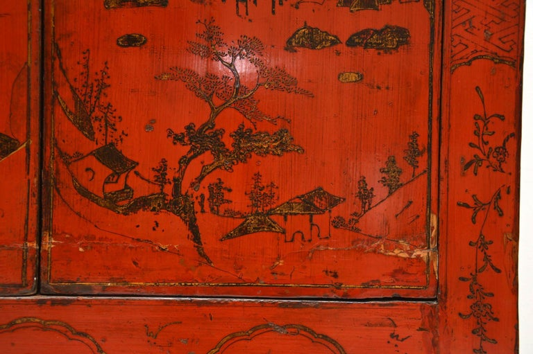 Antique Chinese Lacquered Wedding Cabinet For Sale 2