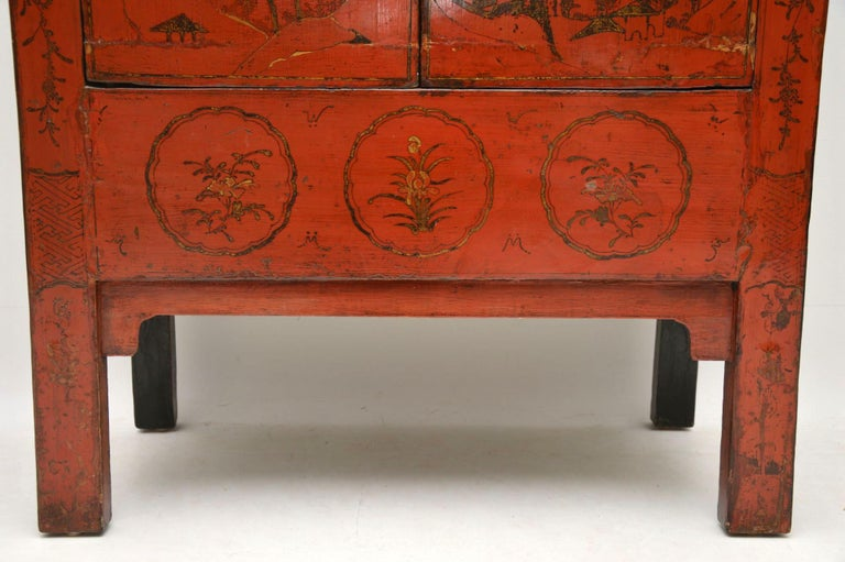 Antique Chinese Lacquered Wedding Cabinet For Sale 3