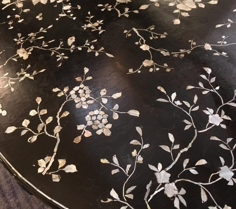 Antique Chinese Laquer and Mother of Pearl Grand Center Table For Sale 11