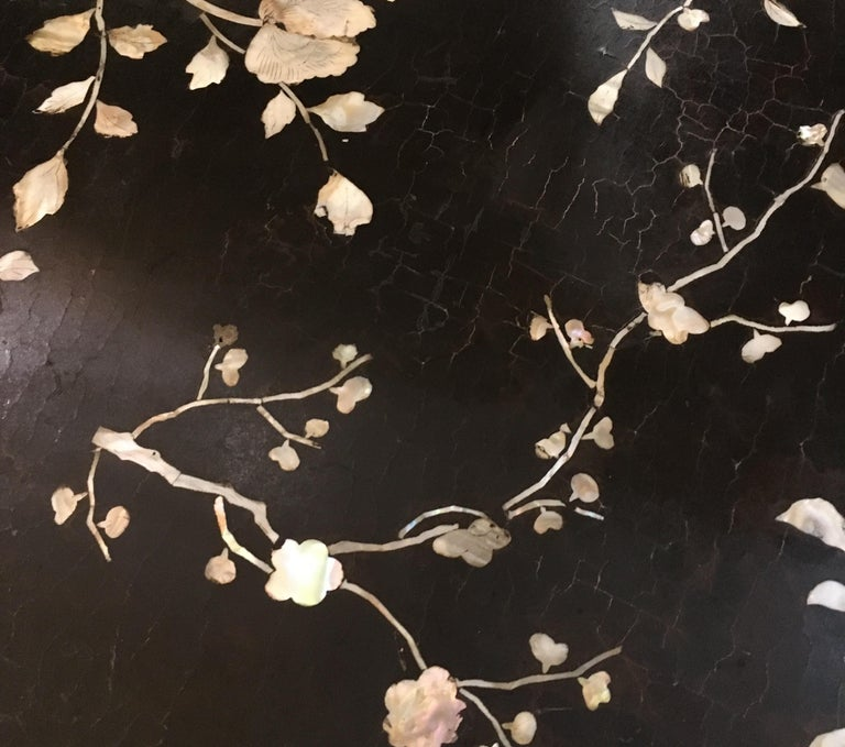 Antique Chinese Laquer and Mother of Pearl Grand Center Table For Sale 13