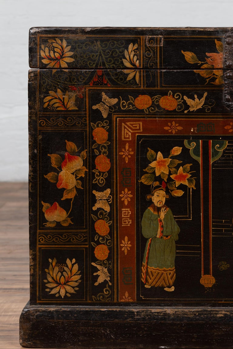 Wood Antique Chinese Large Black Lacquered Trunk with Court Scenes Chinoiserie Decor For Sale