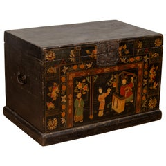 Antique Chinese Large Black Lacquered Trunk with Court Scenes Chinoiserie Decor