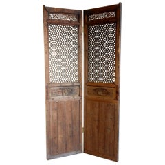 Antique Chinese Lattice Entry Doors, Room Divider Screen