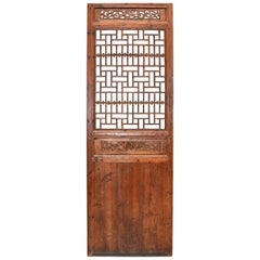 Antique Chinese Lattice Screen with Carved Plum Blossom and Dragon