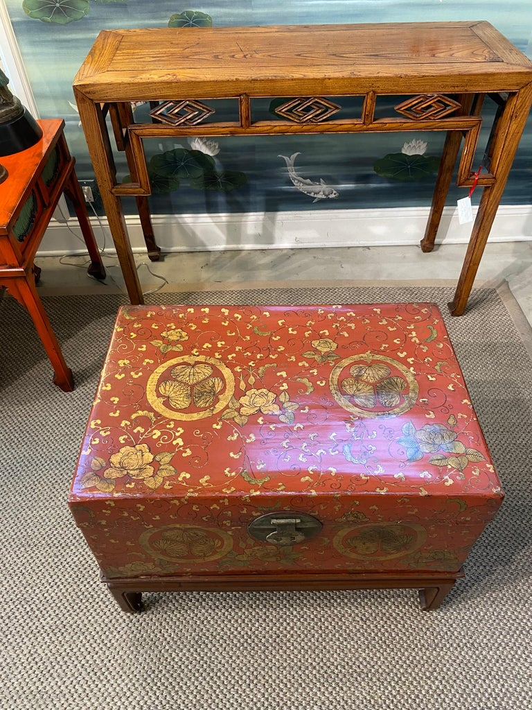 Antique Chinese Leather Trunk with Gold Crests For Sale 8