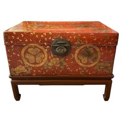 Antique Chinese Leather Trunk with Gold Crests
