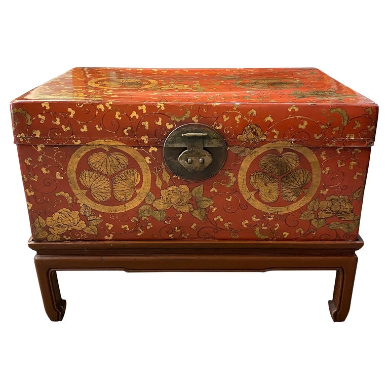 Antique Chinese Leather Trunk with Gold Crests For Sale