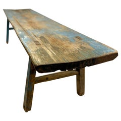 Antique Chinese Long Coffee Table / Occasional Distressed Blue Patina