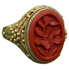 Antique Chinese Lotus Flower Cinnabar Ring Carved Silver Gilt Chinese Export