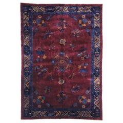 Antique Chinese Mandarin Rug with Manchester Wool and Jazz Age Chinoiserie Style