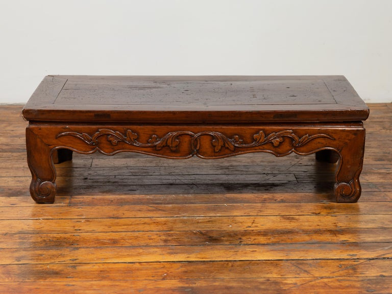 Antique Chinese Ming Dynasty Style Low Prayer Table with Carved Scalloped Apron For Sale 5