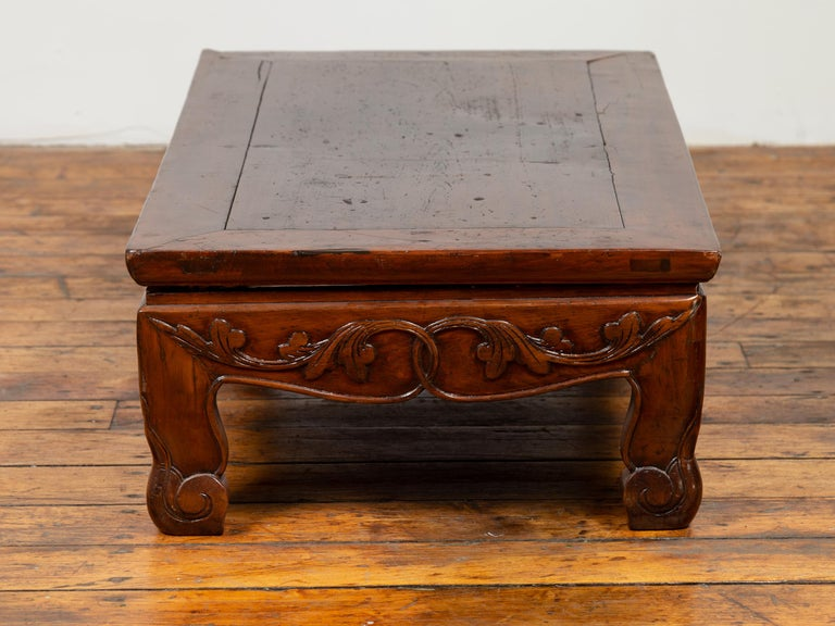 Antique Chinese Ming Dynasty Style Low Prayer Table with Carved Scalloped Apron In Good Condition For Sale In Yonkers, NY