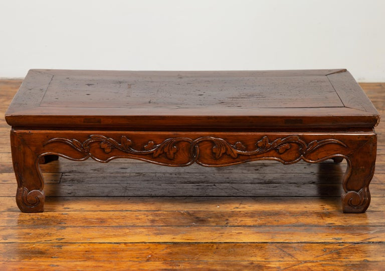 20th Century Antique Chinese Ming Dynasty Style Low Prayer Table with Carved Scalloped Apron For Sale