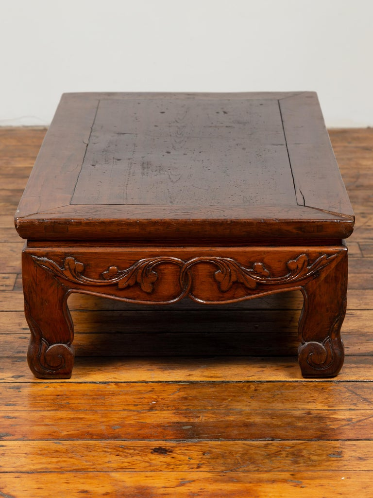 Wood Antique Chinese Ming Dynasty Style Low Prayer Table with Carved Scalloped Apron For Sale