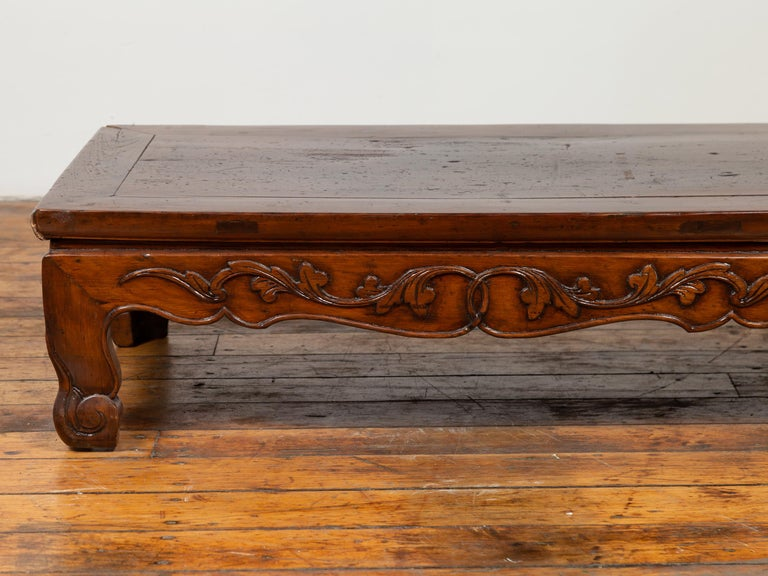 Antique Chinese Ming Dynasty Style Low Prayer Table with Carved Scalloped Apron For Sale 3