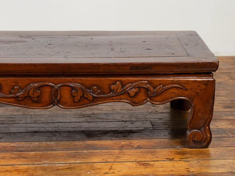 Antique Chinese Ming Dynasty Style Low Prayer Table with Carved Scalloped Apron For Sale 4