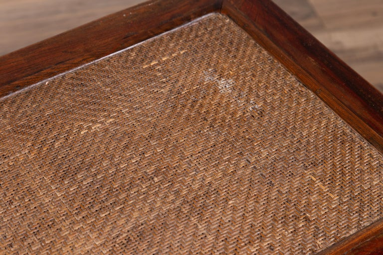 Antique Chinese Ming Dynasty Style Waisted Side Table with Woven Rattan Top For Sale 6