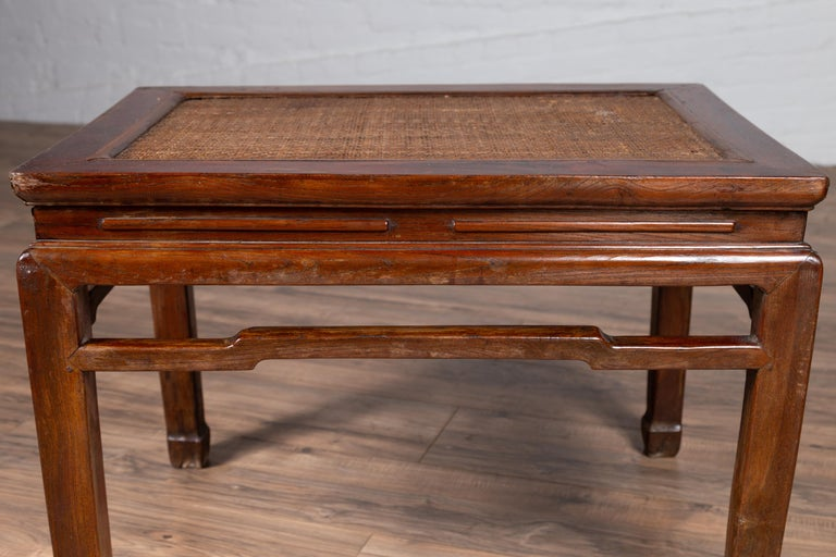 Antique Chinese Ming Dynasty Style Waisted Side Table with Woven Rattan Top For Sale 7