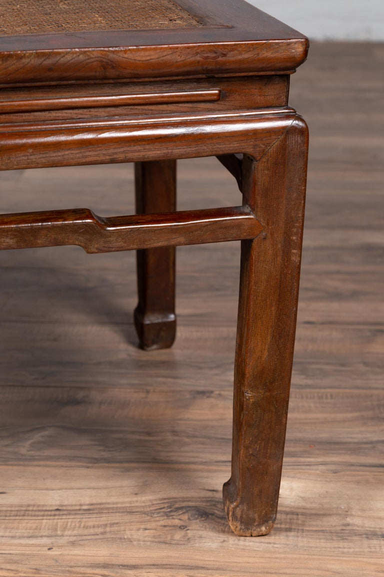 Antique Chinese Ming Dynasty Style Waisted Side Table with Woven Rattan Top For Sale 9