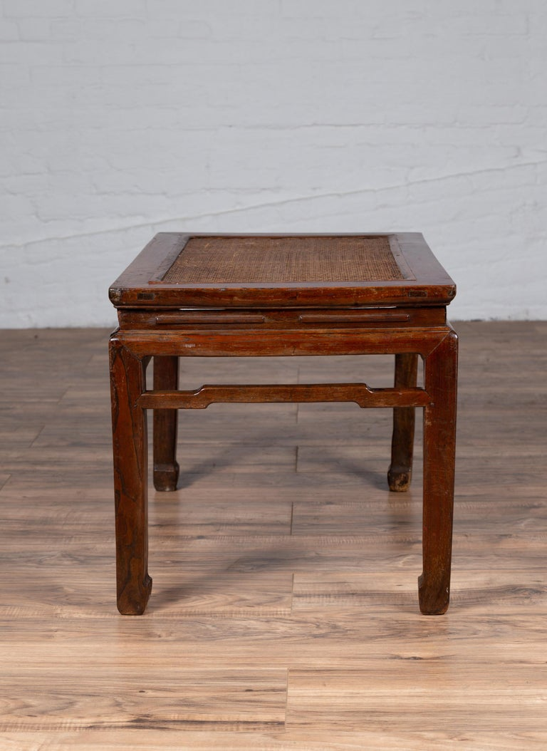 Antique Chinese Ming Dynasty Style Waisted Side Table with Woven Rattan Top For Sale 10