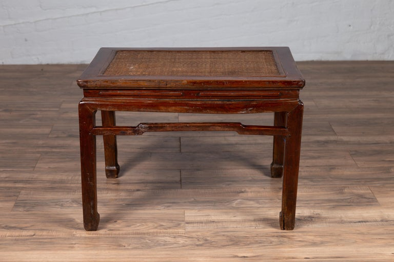 Antique Chinese Ming Dynasty Style Waisted Side Table with Woven Rattan Top For Sale 11