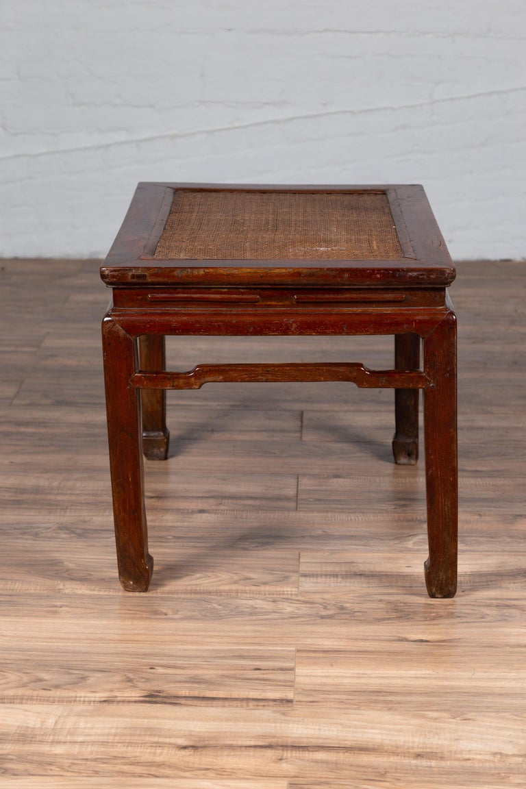 Antique Chinese Ming Dynasty Style Waisted Side Table with Woven Rattan Top For Sale 12