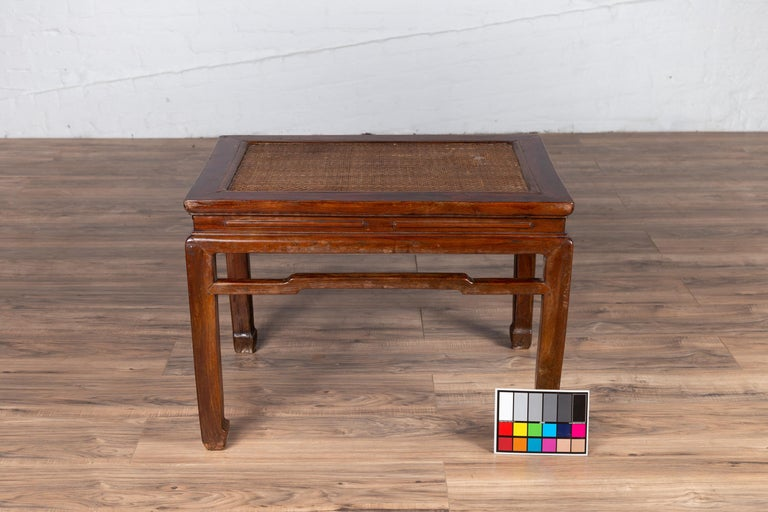 Antique Chinese Ming Dynasty Style Waisted Side Table with Woven Rattan Top For Sale 13